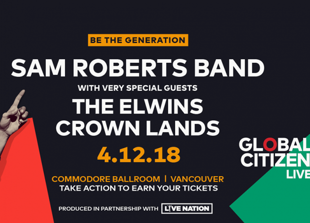 Sam Roberts Band To Headline Global Citizen Live Vancouver