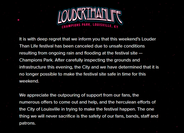 Louder Than Life Canceled Because Of Flooding