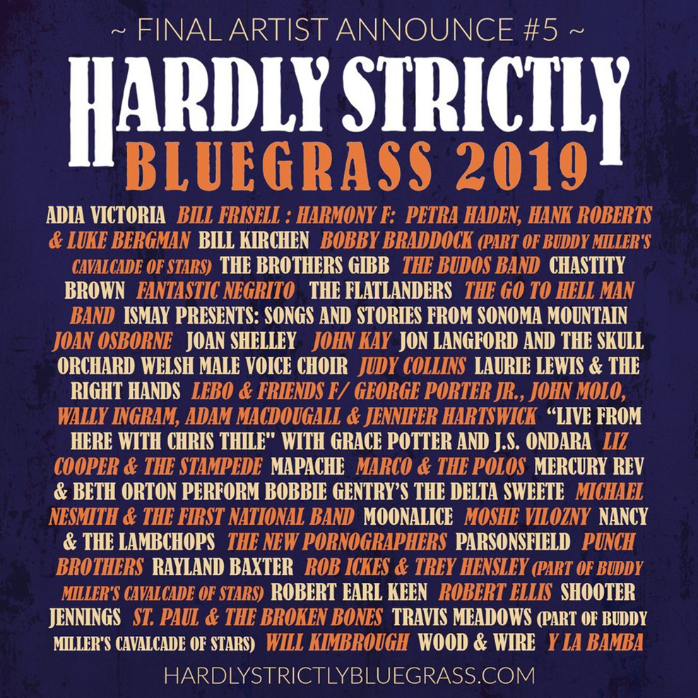 Hardly Strictly Bluegrass Announces Full Lineup, New